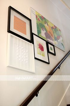 Heart art - wall gallery on stairs