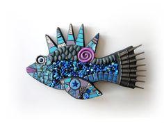 Purple & Blue Fish. Handmade Mixed Media Mosaic 3D by ShawnDuBois
