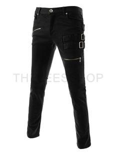 (TLP23) ストレッチ フラット フロント ジッパー デコ サイドバックル コットン パンツ