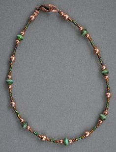 Jewelry - Anklets - Green and Copper Beaded Anklet by JewelryArtByGail on Etsy - SOLD
