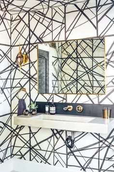 Boho-glam residence by Megan Tagliaferri featuring Kelly Wearstler's wallpaper