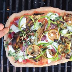 Grilled Veggie Grilled  Pizza With Grilled: Onions, Lemons & Artichokes With Ribboned Asparagus & Microgreens