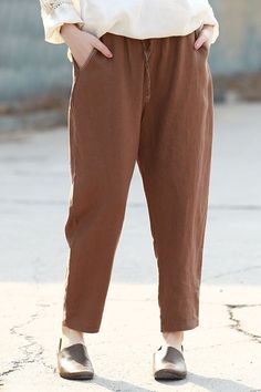 Women Linen Casual Pants Spring Loose Pure Color Trousers Q2308 Best Work Pants, Casual Pants, Casual Dresses, Pants For Women, Clothes For Women, Linen Trousers, Amazing Women, Pure Products, Spring