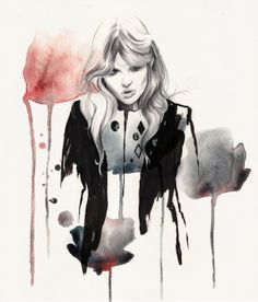 Fashion illustration - beautiful grunge glam fashion drawing // Esra Roise