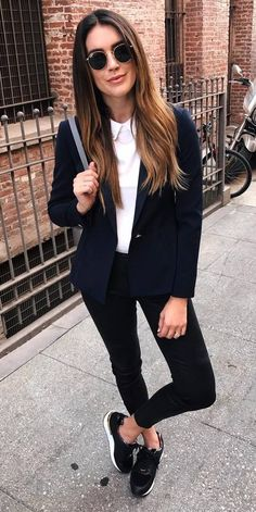 black and white office style outfit
