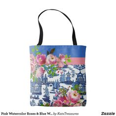 Our Floral tote bags are great for carrying around your school & office work, or other shopping purchases. Floral Tote Bags, Willow Pattern, Personalized Tote Bags, Watercolor Rose, China Patterns, Evening Bags, Satchel, Roses, Reusable Tote Bags