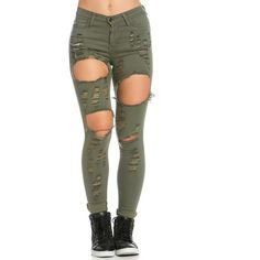 Super Distressed High Waisted Skinny Jeans in Olive Green ($45) ❤ liked on Polyvore featuring jeans, pants, bottoms, stretch skinny jeans, ripped skinny jeans, high waisted jeans, ripped jeans and high-waisted jeans