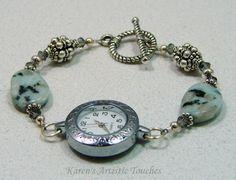 Green Grey White Dalmation Jasper Gemstone Beaded Watch Bracelet