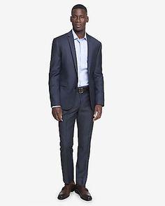 Skinny Innovator Wool Blend Navy Suit