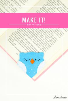 PDF pattern Owl bookmark, DIY, instant download. This PDF will show you how to realize this funny owl corner bookmark. Have fun realizing it!This PDF contains easy step by step instructions, lot of photos and the pattern ready to be printed and cut.