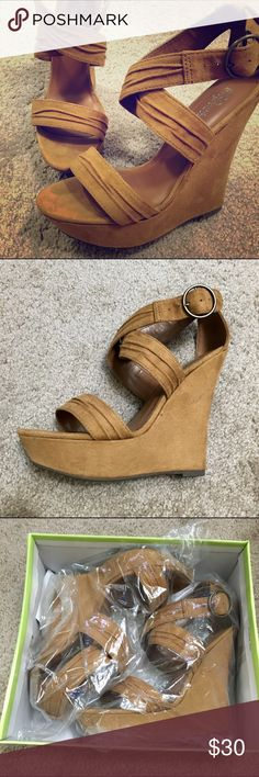 "Like New 💕 Beige platform sandals Worn once indoors only, no damage or wear, basically new. Kind of a golden brown color, super cute and very comfortable. Heel is about 4.5"" plus a 1"" platform. Fairly true to size, maybe a tiny bit bigger, could probably fit a size 8 too. Paprika Shoes Heels"
