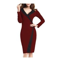 Rotita Long Sleeve V Neck Wine Red Dress (£19) ❤ liked on Polyvore featuring dresses, gowns, wine red, red long sleeve dress, red print dress, wine red dress, v neck dress and print dress
