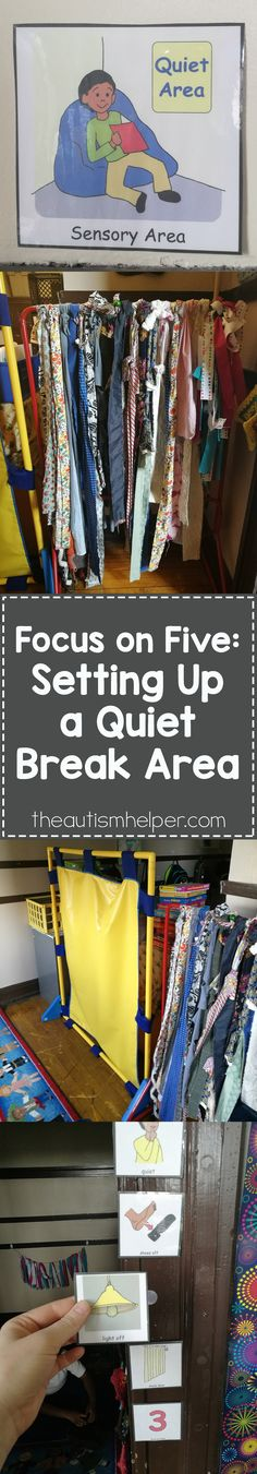 Establishing a sensory area that serves a purpose, rather than just an area with many toys, is crucial for your students. Holly's sharing 5 important steps for setting up a quiet break area in your classroom!! From theautismhelper.com #theautismhelper