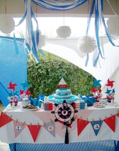 Nautical Baby Shower    www.acmartworks.com Baby Shower Cake Pops, Baby Shower Cakes For Boys, Boy Baby Shower Themes, Baby Shower Parties, Baby Boy Shower, Baby Shower Gifts, Diy Party Decorations, Party Themes, Nautical Party