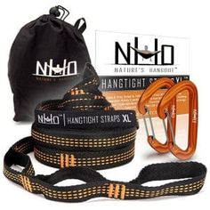 HangTight XL Hammock Straps Carabiners 14 Ft Long Extra Strong Lightweight 2200 LBS Breaking Strength No Stretch Polyester 24 Loops Tree Friendly Best Suspension System For Quick Easy Setup ** Be sure to check out this awesome product. Hammock Tree Straps, Hammock Tent, Hammocks, Hiking Gear, Camping Gear, Umbrellas For Sale, Instant Tent, Teak Outdoor Furniture, Outdoor Umbrella