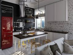 Super cool, clever modern kitchen with dining table/kitchen island incoroporated and a red Smeg fridge. By Aiya Lisova Design. Smeg Kitchen, Smeg Fridge, Retro Fridge, Gloss Kitchen, Kitchen Island, Kitchen Brick, Space Kitchen, Kitchen Walls, Refrigerator