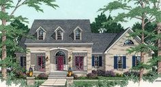 This plan is desired for it's attractive style and low maintenance, completely brick exterior with wrought iron accents.