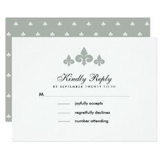 Fleur-de-lis Grey White Pattern Wedding RSVP Cards - invitations custom unique diy personalize occasions