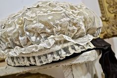 19th Century Lace Cap/Bonnet Faded French Romance French