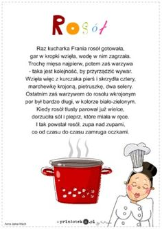 Rosół - wiersz - Printoteka.pl Kids Learning, Montessori, Life Hacks, Kindergarten, Teacher, Humor, Education, Children, Funny