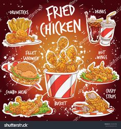 Find Hand Drawn Vector Illustration Popular Fried stock images in HD and millions of other royalty-free stock photos, illustrations and vectors in the Shutterstock collection. Chicken Drawing, Food Drawing, Chicken Menu, Fried Chicken, Food Coloring, Coloring Books, Menue Design, Chicken Illustration, Food Poster Design