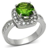Classy Not Trashy Womens Fashion Jewelry Ring Premium Grade Stainless Steel Green Synthetic Stone Cocktail Ring Size 10 ** You can find out more details at the link of the image. Engagement Ring Sizes, Halo Engagement, Pandora Rose Gold Rings, Unique Mens Rings, Cubic Zirconia Engagement Rings, Thing 1, Green Peridot, Peridot Color, Stainless Steel Jewelry