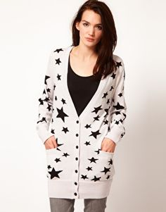 I really want to find a starry cardigan with small stars. Either black on white or white on black.
