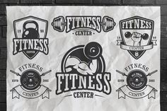 Set of vintage fitness logo template - Logos