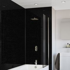 Black Crystal Splashwall Panel 1000 x Wide uPVC bathroom Wall Boards. SplashPanel are thick strong uPVC bathroom Cladding Panels. Shower Wall Board, Bathroom Wall Board, Bathroom Paneling, Bathroom Wall Panels, Bathroom Cladding, Wall Panelling, Waterproof Wall Panels, Timber Battens, Pvc Wall Panels