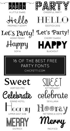 As a designer and crafter, I'm always looking for new fonts to use in my projects. Sometimes, I feel like a font hoarder! This is a roundup of 16 of the best free party fonts. These fonts are great for party invitations and party decorations! If you have a font that you think I should...