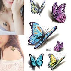 9e371c749 39 1 Sheet 3D Butterfly Tattoo Decals Body Art Decal Flying Butterfly ...  Butterfly