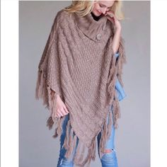 Fringe Mocha Knit Poncho Such a nice piece with iridescent knit weaving through and button details . Fringe along the bottom . One size fits all nwot . Please comment for personalized listing bundle 2+ items for 10% off . Vivacouture Accessories Scarves & Wraps