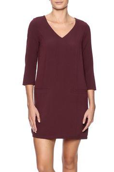 V-neck crepe shift dress with pockets and 3/4 sleeves.   V-Neck Shift Dress by Jack by BB Dakota. Clothing - Dresses - Casual Clothing - Dresses - Short Sleeve Michigan