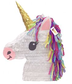 Unicorn Pinata! Handcrafted Unicorn Pinata made from recycled cardboard. Available as Pull Strings Unicorn Pinata or Whack Unicorn Pinata. #AD