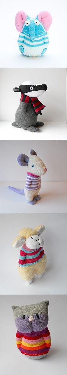 Забавные игрушки зверушки из носков