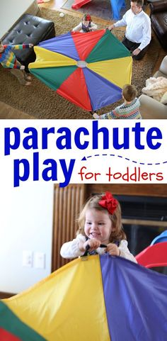 Parachute Play for Toddlers: A super fun gross motor activity that is perfect for expelling excess energy indoors! You can use a bed sheet if you do not have a parachute.