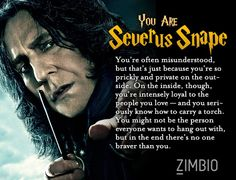 """""""Which Harry Potter Character Are You?"""" Quiz. Dude I don't know if I should be offended or happy because I got Snape"""