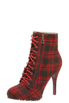 Lexi Tartan Mid Heel Chunky Outside Boot at boohoo.com