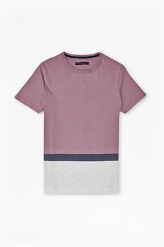 Stockwood Colour Block T-Shirt - Dusty Orchid/Grey Mel