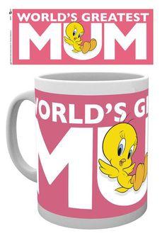 Looney Tunes Tweety Worlds Greatest Mum Mothers Day Mug - Moederdag Mok met de Engelse tekst 'World's Greatest Mum'.