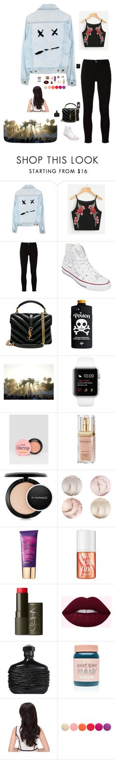 """Untitled #1669"" by wallacehanna ❤ liked on Polyvore featuring Frame, Converse, Yves Saint Laurent, Benefit, Elizabeth Arden, MAC Cosmetics, tarte, NARS Cosmetics, Lime Crime and Deborah Lippmann"