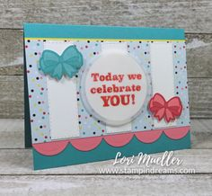 PPHop-PoppinBirthdayRt-Lori-DSC09577 - March 2019 Paper Pumpkin Alternate - Stampin Up Diy And Crafts, Paper Crafts, Simple Birthday Cards, Stampin Up Paper Pumpkin, Envelope Punch Board, Cute Cards, Pattern Paper, Stampin Up Cards, How To Introduce Yourself