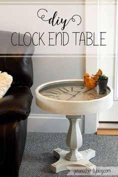 DIY End Tables with Step by Step Tutorials - DIY Pedestal Clock End Table - Cheap and Easy End Table Projects and Plans - Wood, Storage, Pallet, Crate, Modern and Rustic. Bedroom and Living Room Decor Ideas http://diyjoy.com/diy-end-tables
