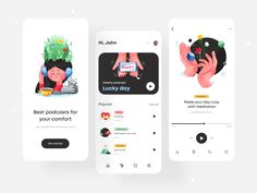 Podcasts App by Afterglow App Ui Design, Interface Design, User Interface, Lucky Day, New Thought, Ui Inspiration, Data Visualization, Interactive Design, One Design