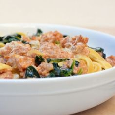 Fettuccine with Sausage and Kale by onionringsandthings