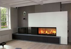 Living Room with Fireplace That Will Warm your Home Modern Fireplace Mantles, Basement Fireplace, Home Fireplace, Living Room With Fireplace, Ethanol Fireplace, Contemporary Fireplace Designs, Living Room Remodel, Living Room Pictures, House Rooms