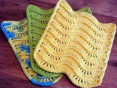 PDF CROCHET PATTERN, 3-d Waves Textured Dishcloth Washcloth, Wavy Kitchen Rag, Dish Cloth, Bathroom Wash Cloth, Towel,