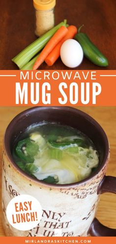 Healthy Mug Soup is a simple and delicious vegetable egg soup. Add this to your lunchbox routine – It is a snap to prep, pack and cook in any microwave.  We make it at home or at work. #soup #mugrecipe #easy #healthy Mug Recipes, Drink Recipes, Snack Recipes, Dinner Recipes, Snacks, Interesting Recipes, Amazing Recipes, Delicious Recipes, Easy Chicken Recipes