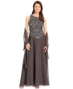 J Kara Embellished Empire-Waist Gown and Shawl $219.00 This pretty J Kara gown features a flattering empire-waist silhouette and embellished popover. Wear with the accompanying shawl for a polished look.