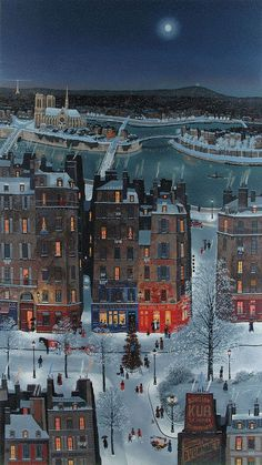 """Born in Paris, Michel Delacroix is an artist that works in the """"naif"""" style and studied at the Lycee Louis-le-Grand. Born in Paris, Michel Delacroix is an artist that works in the """"naif"""" style and studied at the Lycee Louis-le-Grand. Illustration Noel, Christmas Illustration, Michel Delacroix, Art Moderne, Digital Collage, Pattern Art, Art Patterns, Aesthetic Art, Cute Art"""